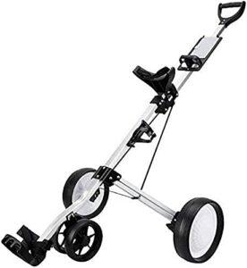 Chariot de Golf Pliant One-Click Chariot de golf Chariot de golf Lightweight 4 roues pliable une seconde pour ouvrir et fermer Golf Push Push Puttor Golf Porte- avec cage de bouteille de la carte de p