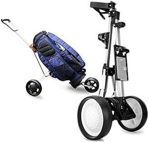 Chariot de Golf Pliant One-Click Chariot de golf Cube Cube Compact Pliant Poignée ergonomique Push Chariot de golf 3 Roue Golf Panier de poussoir avec porte-carte Boissons Porte-billes Porte-boule fac