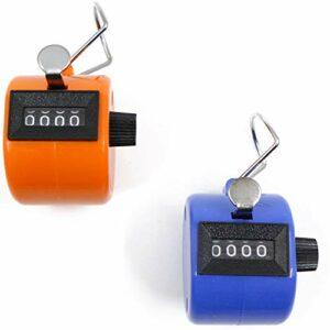 Compteur Manuel 4 Chiffres Lot de 2 Compteur Mécanique Sans Batterie Orange et Bleu, 4,3 cm x 4,3 cm x 5,2 cm, 29g,Tours/Sport/Entraîneur/école/événement,Petit et Facile à Transporter.