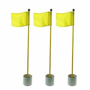 Crestgolf Lot de 3 bâtons de drapeau pour entraînement au golf, 3 sections, mâts verts (jaune)