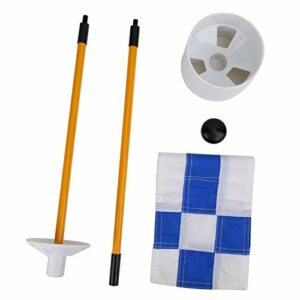 Dauerhaft Accessoire de Pratique de Golf avec Drapeau de Grille Bleu Blanc Golf Putting mât de Drapeau Vert, pour Match en Plein air