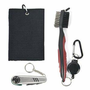 DODUOS 3 PCS Accessoires de Golf Brosse de Club de Golf Serviette de Club de Golf nettoyant pour Club de Golf Outil de réparation Pliable avec marqueur de Balle de Golf nettoyant pour Club de Golf