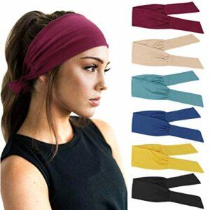 DRESHOW 6 Pièces Bandeau Cheveux pour Femme Yoga Courir Bandeaux Sport Entraînement Bandeaux Mignon Accessoire,Taille unique,6 Pack Color Headwraps Set 14