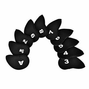 Eatbuy Cover Club Cover-10Pcs Durable Neoprene Iron Club Head Protect Cover avec Chiffres Lettres(Noir)