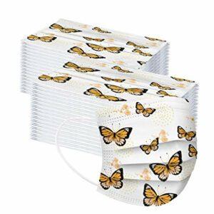 𝐌𝐚𝐬𝐪𝐮𝐞_Enfant_𝐉𝐞𝐭𝐚𝐛𝐥𝐞 pour Filles Garcon, 10/20/30/40/50/100 Pièces Mignonne Imprimé Papillon Non-tissé 3 Plis Oreilles élastiques 𝐌𝐚𝐬𝐪𝐮𝐞𝐬_de Protection (J/100 Pièces)