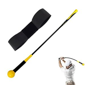 Entrainement au Swing Golf Trainer Correction pour le Tempo Et La Flexibilité De la Prise Force Avec Brassard de Golf Pour la Pratique Intérieure Chipping Frapper Accessoires (48 Pouces+Noir Band)