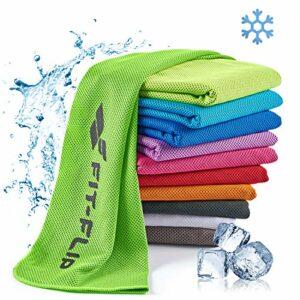Fit-Flip Serviette de Refroidissement 100x30cm, Serviette Sport Microfibre refroidissante, Serviette rafraîchissante, Cool Towel, Serviette Microfibre – Couleur: Vert néon, Dimensions: 100x30cm