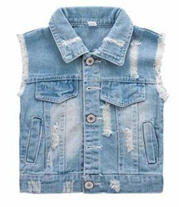 Garçons 2-8Y Déchiré Manteau Filles Denim Cowboy Gilet Gilet Jean Vestes pour Enfants Vêtements de Dessus Blue 5