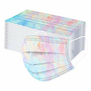 Générique 50PC_Masque_Adulte Jetable Visage Tissu avec Brosse Cache-Oreilles Face_Mask Bouche Protection Tissu,Faciaux Non Tissé à 3 Couches Tissu Non Lavable pour Cyclisme Camping (A14, 50pc)