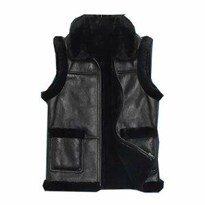 Gilet Multi-Poches pour Hommes d'hiver, Veste Souple à Poches Chaudes et Pratiques, Gilet sans Manches en cuir-black-48/170