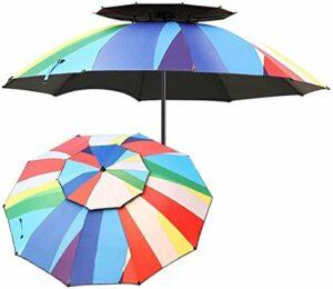 GJHK Parasol DE Jardin EXTÉRIEUR Double Top Top Toper EMBRILLAY avec Pance en Aluminium TILTÉ, Parasol DE MARCHÉ pour BALONNON, Patio, Pêche, Cour arrière (Couleur: 220cm (7.2ft))