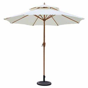 GJHK Parasol de Jardin extérieur Patio de Jardin d'extérieur Parasol, Parapluie de Table à Double Top avec manivelle, 8 côtes en Acier, Protection UV imperméable