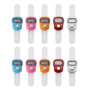 Gobesty Tally Finger Counters Lot de 5 mini compteurs à 10 LED numériques avec compteur de doigts électronique numérique avec écran LCD