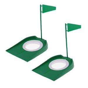 Golf Putting Coupe pratique intérieur Putter trou Flag Outils de formation portable Retour boule en plastique 2PCS