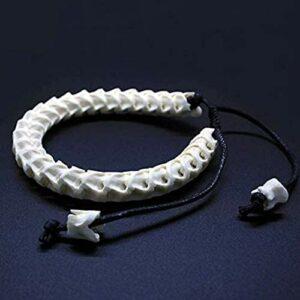 Gwill Bracelet en os de serpent 100 % naturel – Réglable – Personnalisé – Bijou vintage fait à la main – Souvenir d'anniversaire pour homme ou femme