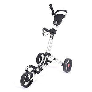 H-BEI Chariots de Golf Chariot de Golf Pliant à 3 Roues |Chariots de Golf légers avec Frein à Pied Scorecard | Une Seconde pour Ouvrir et Fermer Les voiturettes de Golf
