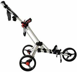 HFJKD Chariots de Golf, Chariot de Golf Pliable à 3 Roues avec Roue Avant rotative à 360 ° et Porte-Parapluie/Porte-Boisson Une Seconde pour Ouvrir et Fermer Le cha