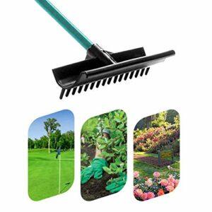 HUWENJUN123 Outil de nivellement de pelouse 15 « x 4 » – Râteau de nivellement à Gazon avec Manche en Acier Inoxydable de 59 « de Long, niveleur de pelouse pour Pansement de Dessus de Sable