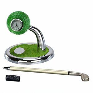 Jiaojie Mini porte-stylo de golf avec horloge – Décoration de table de golf – Souvenir de golf – Cadeau pour le bureau et la maison