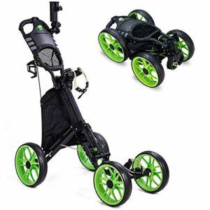 Kingdely Chariot de golf pliable à 4 roues avec porte-parapluie, léger, compact, facile à ouvrir, vert
