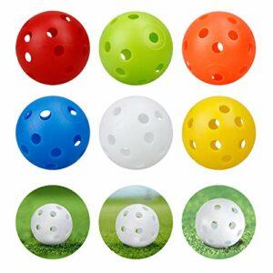 Kofull 24 PCS Balles de Practice Golf balles de Plastique avec Balle de Golf à Trous Balles perforées Balles colorées Compagnie Enfants 40mm, Couleurs Mixtes