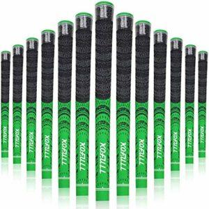 Kofull Lot de 13 poignées de golf en fil de carbone avec poignée en fer multicomposé, taille standard R60, antidérapantes pour clubs de golf Vert