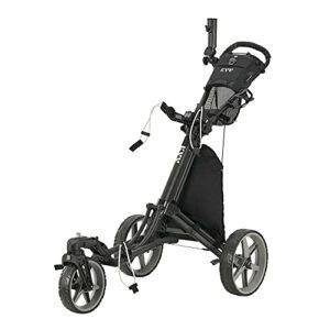 KVV Chariot de golf à 3 roues pivotantes à 360 ° avec frein à pied pour ouvrir et fermer en une seule seconde, porte-parapluie inclus.