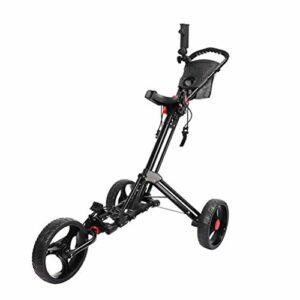 LBJN Chariot de Golf pivotant Pliable 3 Roues Chariot de Traction Chariot de Golf avec Support de Parapluie Transporteur de Sac de Chariot de Golf (Color : Black)