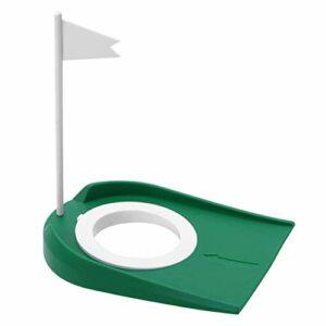 LBJN Golf Putting Cup Mat Green Practice Putting Hole Aides à la Formation avec Trou réglable Drapeau Blanc pour intérieur extérieur