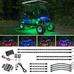 LEDGlow Kit d'éclairage néon LED pour chariot de golf EZGO Yamaha Club Car – 12 pièces de couleurs – Compatible avec les chariots de golf électriques et à gaz – Résistant à l'eau