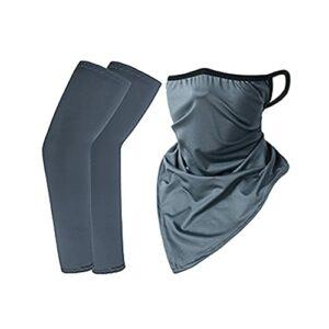 LIZHOUMIL Ensemble de protection solaire en soie glacée avec écharpe triangulaire + manches pour vélo, randonnée, sports de plein air, gris foncé, taille unique