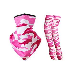 LIZHOUMIL Ensemble de protection solaire en soie glacée avec protection de cou et manches pour sports de plein air, motif camouflage rose rouge, taille unique