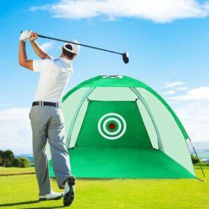 LUVODI Filet d'Entrainement de Golf, 3M Filet Practice Baseball Golf Plable pour Intérieur Extérieur avec Sac de Transport (Vert)