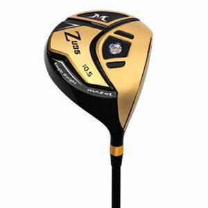 Mazel Titanium Driver de golf pour homme, droitier, 460 cc, Doré 10,5 degrés Flex SR.