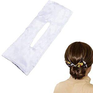 MENGFEI Feeon Deft Chignon, bandeau noué avec épingle à cheveux imprimée, 6 couleurs tendance, accessoire de coiffure indispensable (blanc)