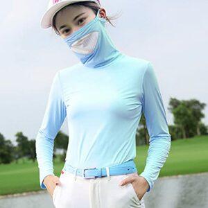 Mhwlai T-Shirt de Protection Contre Le Soleil de Golf Femme Manches Longues, vêtements de Protection Contre Le Soleil d'été Dames vêtements de Soie Glace Chemise,Bleu,L