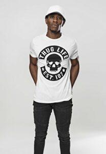Mister Tee Herren Thug Life Skull Tee T-Shirt, White, M