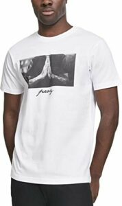 Mister Tee Herren T-Shirt Pray Tee, Weiss (White), Gr. S