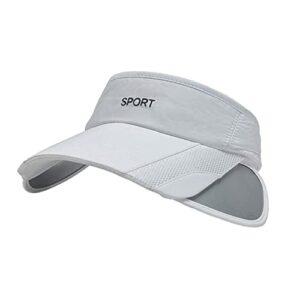 MNSYD Casquette de Golf réglable de Chapeaux de Soleil à Large Bord pour Femmes avec Chapeau de Sport de Tennis à Rebord rétractable,Blanc