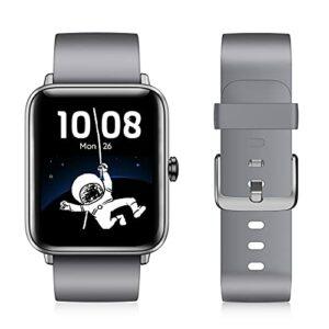 Montre connectée pour Homme et Femme avec Oxygen de Sang Écran Couleur de 1,55″ – Bracelet Fitness avec cardiofréquencemètre Étanche IP68 Podomètre Moniteur de Sommeil Montre GPS pour Android iOS
