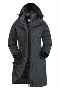 Mountain Warehouse Veste 3 en 1 longue Alaskan Femme – Imperméable, Coutures soudées, Testée à -40C, Veste intérieure amovible, Isolation – Idéale en hiver Noir 36