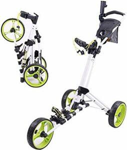 NSYNSY Chariots de Golf pliants, Chariot de Golf à 3 Roues Pliable en Aluminium, Chariots de Golf en Aluminium Haut de Gamme rotatifs 23 * 24 * 30 CM, élargi 130 * 70 * 102 CM