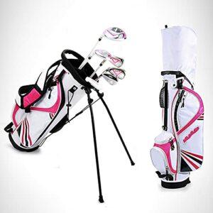 NXX Ensemble Complet De Clubs De Golf 6 PièCes pour Hommes Et Femmes, Main Droite, Comprend des Fers Hybrides en Bois D'AlléE en Alliage, Un Putter Gratuit, Un Sac De Support,Rose,M