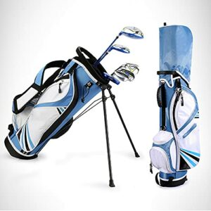 NXX Ensemble Complet De Clubs De Golf Junior pour Enfants à Gauche Clubs De Golf pour Enfants Comprend du Bois De Parcours, des Fers 7# Et 9#, Un Putter, Un Couvre-Chef, Un Sac De Golf,Bleu,L