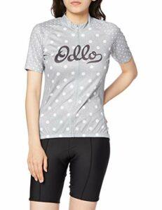 Odlo Haut de Cyclisme à Manches Courtes et col Montant Element pour Femme, Grey Melange – White, M