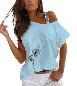 ORANDESIGNE Tee-Shirt Femme Sexy Été Tops Impression de Coeur Manches Court Épaules Dénudées Chic Haut Blouse T-Shirt Grande Taille F Bleu M