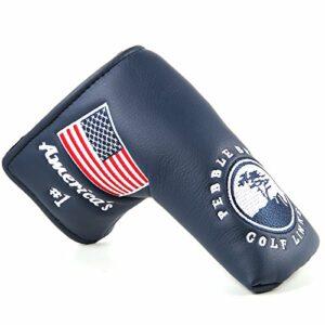 Outdoor Leisure 1 housse de putter de golf avec motif drapeau des États-Unis – Broderie des abeilles rouges (bleu).