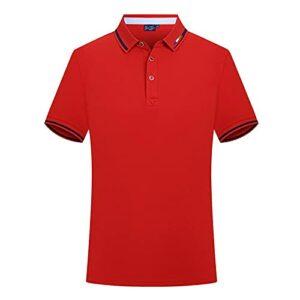 Polo à manches courtes en coton extensible pour homme, coupe ajustée, pour le travail, le sport – Rouge – XL