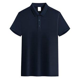 RFL Polo d'été à manches courtes en coton pour homme, coupe régulière, T-shirt de golf à revers coupe ample, bleu marine, XXL