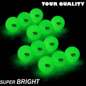 R&L Glow Golf Balls for Night Sports – Tournament Fluorescent Glowing in The Dark Golf Ball – Long Lasting Bright Luminous Balls Rechargeable with UV Flashlight – Included (6 Pack)
